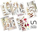 10 Blätter Premium Design Große Packung Goddess Untold Temporäre Metallic Flash Tattoos Wasserdicht über 200 Designs - Gold, Silber, Schwarz und Farbe für Festivals, Strand, Partys