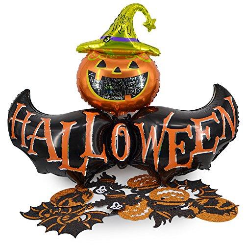 Okaytec Halloween Deckenhänger Kürbisballon Halloween Party Deko Set - 2,6M Girlande + XXL Fledermaus Kürbis Luftballon Halloween Accessoires Dekoration für Outdoor Garten Fensterdeko