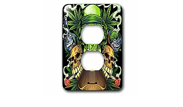 3D Rose LSP/_252450/_6 Three Skulls Smoking Joints with a Guitar 2 Plug Outlet Cover
