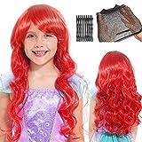 Tacobear Sirène Ariel Perruque pour Femme Enfant Perruque Cosplay longue rouge bouclée perruque avec Capuchon de perruque et Cheveux Barettes pour Cosplay Halloween