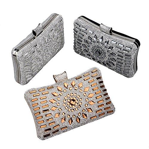 ruiio Fashion Lady Diamond Luxus Abend Handtasche Hochzeit Party Clutch Make-up Taschen Tasche Geldbörse goldfarben