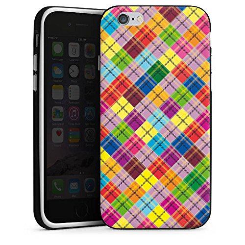 Apple iPhone 5s Housse Étui Protection Coque Carreau couleurs Look tissu Housse en silicone noir / blanc