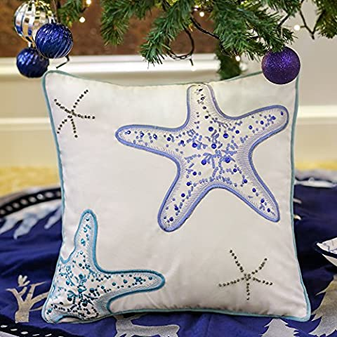Valery Madelyn Cushion Covers Sofa Bed Seating Embroidery Sequins Cotton Velvet Soft Pillow Case for Summer Home Garden Seaside Beach Decor, Starfish, 18