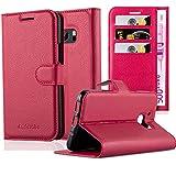 Cadorabo Hülle für HTC ONE M10 - Hülle in Karmin ROT – Handyhülle mit Kartenfach und Standfunktion - Case Cover Schutzhülle Etui Tasche Book Klapp Style