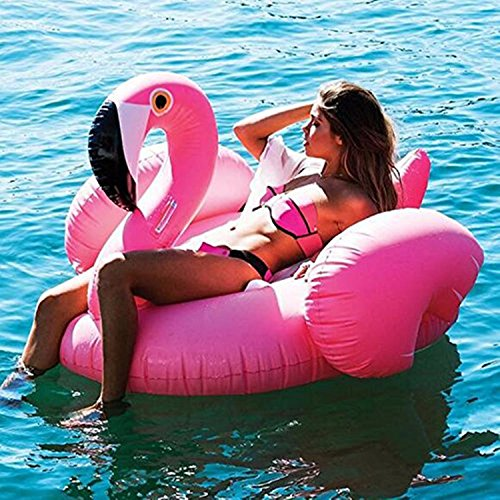 Missley grande gonfiabile float di flamingo-galleggiante corsa su rideable soffiare estate fun pool giocattolo lettino galleggiante zattera per bambini e adulti (flaming)