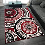 Design Velours Kurzflor Teppich 'Cycle' Ornament Muster, Farbe:Rot, Größe:200x290 cm