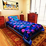 eCraftIndia Rosy Floral Blue Cotton Sing...