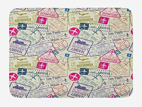 Icndpshorts Travel Bath Mat, Passport and Visa Stamps Illustration of Toronto Hong Kong Berlin Print, Plush Bathroom Decor Mat with Non Slip Backing, 23.6 x 15.7 Inches, Egg Shell and Pink
