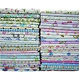 Lotto di 50pezzi di stoffa da 20 x 25cm, in 100% cotone, motivi assortiti tutti diversi, per cucito, trapunte, bambole e patchwork