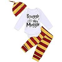 Bébé garçon Fille vêtements câliner Ces moldus à Manches Longues 3 pièces Tenues Barboteuse Pantalon Chapeau, Costume à…