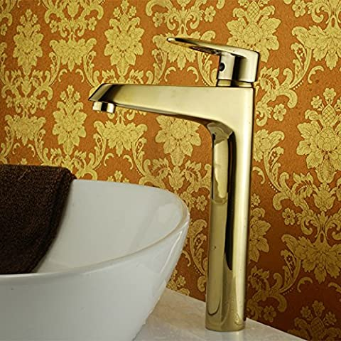 Furesnts Modern home kitchen and Bathroom Sink Taps Gold plated copper braid mixed Bathroom Sink Taps,(Standard G 1/2 universal hose ports)