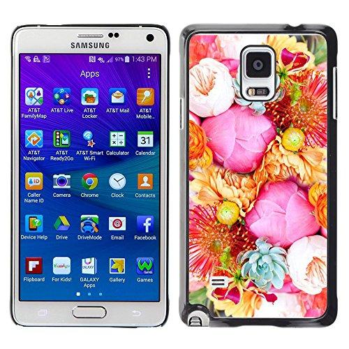 WonderWall Carta Da Parati Immagine Custodia Rigida Protezione Cover Case Per Samsung Galaxy Note 4 SM-N910F SM-N910K SM-N910C SM-N910W8 SM-N910U SM-N910 - fiore fiori di rosa, blu cestino