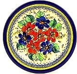 Polish Pottery 9-inch Pasta Bowl (Summer Sleandor Theme) Signature UNIKATCertificate of Authenticity