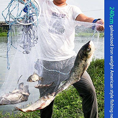 Acogedor Wurfnetz, Starkes Nylon-Monofilament 0.5 Finger kleines Mesh Fischernetz mit 12m Handschnur