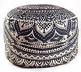 Sophia Art Indischen Schwarz Gold Ombre Mandala Fußhocker Rund Pouf osmanischen Cover Dekorative Pouf Polsterhocker, Indian Boden Kissen Kissenbezug aus Baumwolle Pouf, 14x 24'