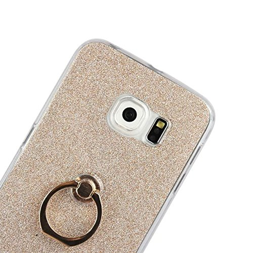 Luxus Bling Sparkle Style Case, Soft TPU [Silikon] Flexible Glitter Back Cover [Anti Scratch] mit Fingerring Stand für Samsung Galaxy S6 Edge ( Color : White ) Black