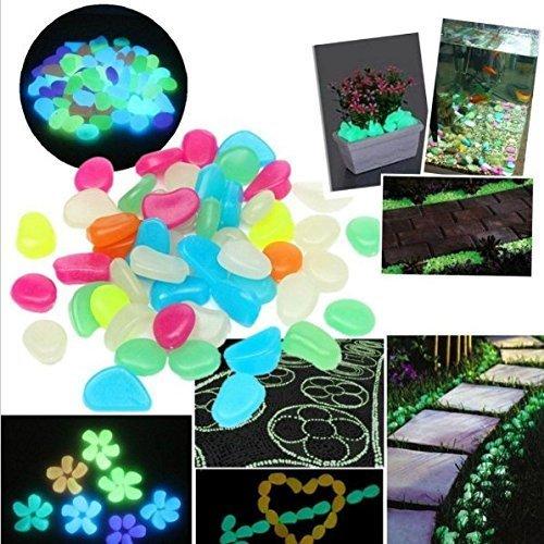 Uchic 30 pcs Multicolor artificielle brillent dans le noir lumineux pierres Galets Galets pour aquarium Jardin Parterre Fontaine à eau Décorations