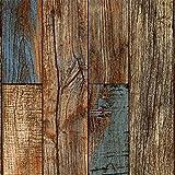 ZHAORLL 3D Holzmaserung/Holz / Holz Block Mosaik Tapete Simulation Retro Wohnzimmer Studie PVC-Tapete Nicht Selbstklebende 53 cm * 10 Mt
