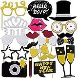 Konsait Año 2019 Photo Booth Props Cabina de Fotos Accesorios Photocall Divertido DIY Kit para Adultos Niños Mujeres Hombre Máscaras Sombrero Gafas 2018 Año Aniversarios Boda Decoración (21Pcs)