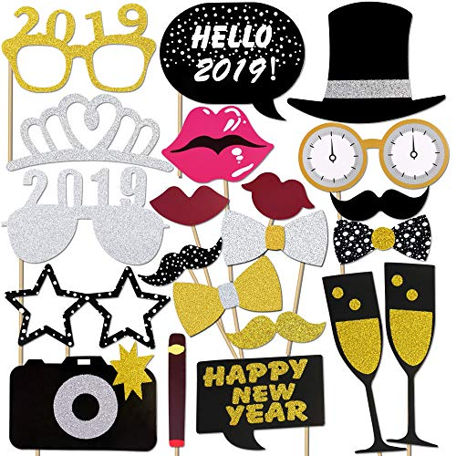 Neujahr 2019 Fotorequisiten Fotoaccessoires, Konsait Silvester Photo Booth Props Set mit Stick für Erwachsene Kinder Party Accessoires 2019 Neujahr Party Dekor Verkleidung Mitbringsel Maske (21 Pcs)