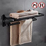 Freie lochen europäischen stil handtuchhalter raum aluminium bad regal schwarz bad hardware anhänger bad handtuchhalter