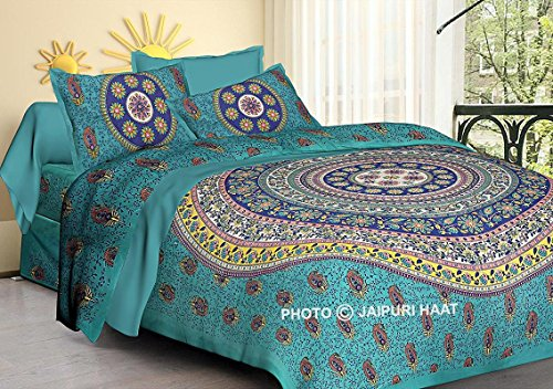 Jaipuri haat Traditional Print Cotton Double Bedsheet with 2 Pillow Covers - King , MultiColor