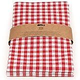FILU Geschirrtücher 3er Pack Halbleinen (Leinen/Baumwolle) rot/weiß kariert 45 x 70 cm (Farbe und Design wählbar); hochwertig durchgefärbte Geschirrhandtücher im skandinavischen Landhausstil