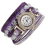 Armbanduhr, erthome Frauen Mode Lässig Analog Quarz Damen Strass Uhr Armbanduhr Muttertag Geschenk (Violett)