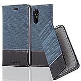 Cadorabo Hülle für LG K10 2017 - Hülle in Dunkel Blau Schwarz – Handyhülle mit Standfunktion und Kartenfach im Stoff Design - Case Cover Schutzhülle Etui Tasche Book