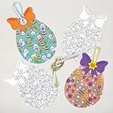Kit Uova di Pasqua Decorative per Bambini da Colorare con Creatività, Ideare, Dipingere e Appendere - Set di Creazioni per Bambini (Confezione da 10)