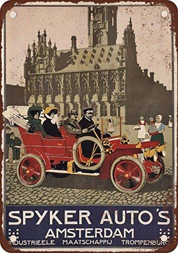 1910-del-spyker-automobiles-amsterdam-aspecto-vintage-reproduccion-metal-tin-sign-8-x-12-pulgadas