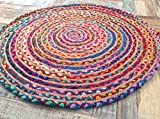 Second Nature Fair Trade 90 cm rund Geflochten Flickenteppich Baumwolle Jute Bunten Chindi Matte