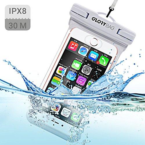 Glorybag - Premium wasserdichte Handytasche – mit Touch ID Fingerprint – hochwertiges Handycase für extreme Bedingungen – optimale Schutzhülle zum praktischen Outdoor-Einsatz für alle Smartphones (weiß) (Weißen Luft Meer,)