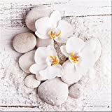 artissimo, Glasbild, 30x30cm, AG2071A, White Sence I, weiße Orchideen mit Steinen, Bild aus Glas, Moderne Wanddekoration aus Glas, Wandbild Wohnzimmer modern