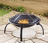Negro Fire Pit barbacoa de acero plegable Camping jardín Patio al aire libre estufa quemador