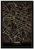 Panorama Poster Stampe da Parete Mappa Oro di Parigi 21 x 30 cm - Stampato su Carta 250gr Alta qualità - Quadri Moderni Soggiorno - Stampe da Parete Moderne per Incorniciare - Decorazione Parete