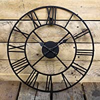 BARGAINSGALORE NEW BIG ROMAN NUMERALS GIANT OPEN FACE METAL LARGE OUTDOOR GARDEN WALL CLOCK NEW (40CM)