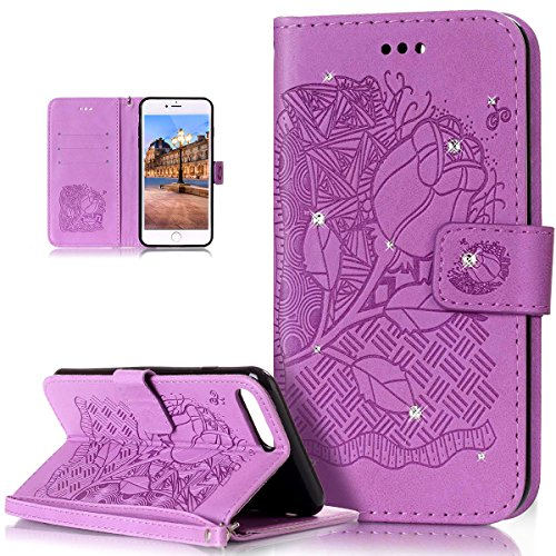 Custodia iPhone 7 Plus, iPhone 7 Plus Cover, ikasus® iPhone 7 Plus Custodia Cover [PU Leather] [Shock-Absorption] Goffratura Embossing Floreale Fiore Cranio Campanula Modello Protettiva Custodia Cover Rosa Blu