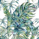 murando - Vlies Tapete Tropische Blätter Monstera - Deko Panel Fototapete - Wandtapete - Wand Deko - 10 m Tapetenrolle - Mustertapete - Wandtapete - modern design - Dekoration - grün weiß b-A-0369-j-a