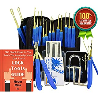 Antool Blue Transparent Cutaway Practice Padlock + 24-Piece Stainless Steel Hook Lock Pick Set with PU Leather Storage Bag + 5pcs Credit Card Hardware Multitools with Card Case