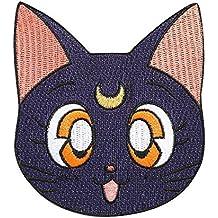 Sailor Moon parche (3,5pulgadas) negro luna gato insignia bordado Sew de hierro en Applique Retro Cartoon Manga Souvenir disfraz Magic