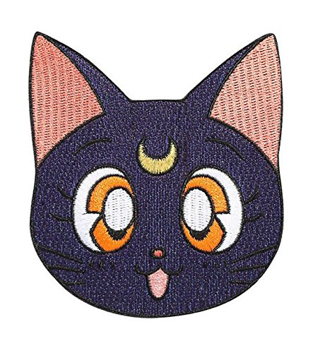 Sailor Moon Patch (8,9cm) schwarz LUNA Katze bestickt Eisen nähen auf Badge Aufnäher Retro Cartoon Manga Souvenir Kostüm - Luna Katze Kostüm Sailor Moon