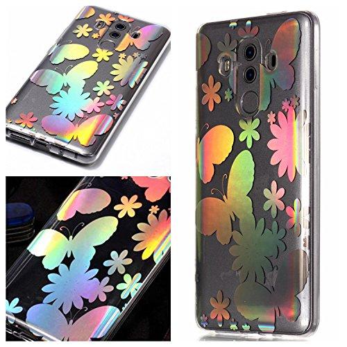 Klassikaline Coque Huawei Mate 10 Pro, Huawei Mate 10 Pro Téléphone Coque/Coque Etui Case Cover pour [Huawei Mate 10 Pro] - Papillon Fleur