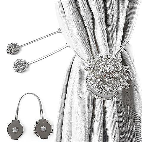 Rideau magnétique Clips Rideau Attraction Appliance Boucle décoratifs Drapes Embrasses Rideau Embrasses Clips Sliver 2pcs
