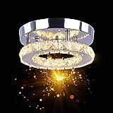 Osairous Plafonnier en Cristal, Ø20CM Lampe de Plafond LED, 16W Lustre Cristal Moderne pour Chambre, Couloir, Cuisine, Trois
