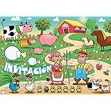 """10 Invitaciones """"ANIMALES DIVERTIDOS"""": Juego de 10 invitaciones al cumpleaños infantil en la granja o finca de EDITION COLIBRI (10962 ES)"""