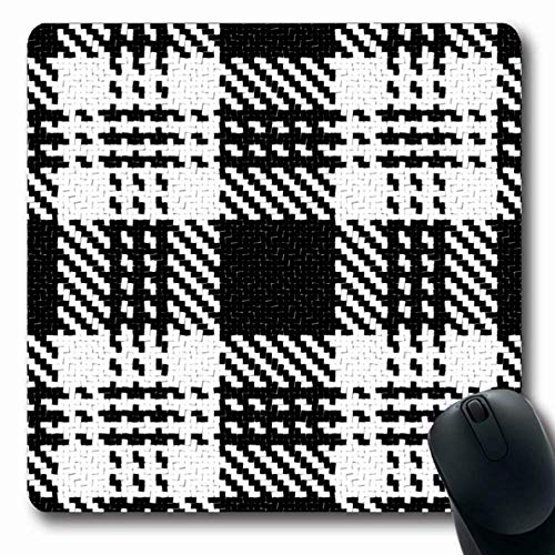 Mousepad Oblong Color Plaid Lumberjack Schwarz Weiß Muster Check Abstract Tartan Flanelljacke Buffalo Office Computer Laptop Notebook Mauspad, rutschfestes Gummi -