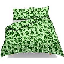 Nueva Cannabis Hoja de Marihuana Weed funda de edredón Set ~ con libre funda de almohada casos ~ plycotton Stuff Reino Unido tamaños, GREEN- CANNABIS, suelto