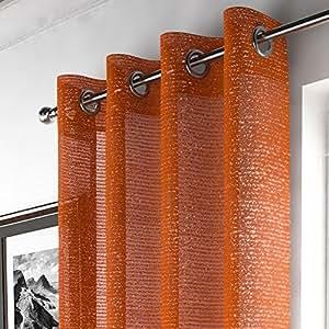 Mirabel - tenda a pannello con drappeggio in alto - attacco ad occhiello/asola - in retina di voile con glitter - Arancione - L140 x Lungh 274 cm