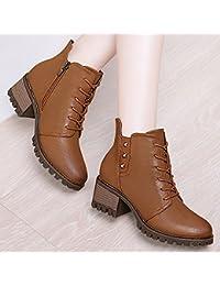 Chaussures de soirée automne à bout rond à fermeture éclair bleues Casual femme 5W0p5rdWY